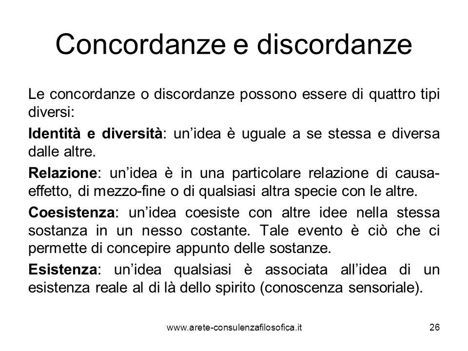 Concordanze e discordanze Le concordanze o discordanze possono essere di quattro tipi diversi: Identità e diversità: un'idea è uguale a se stessa e di