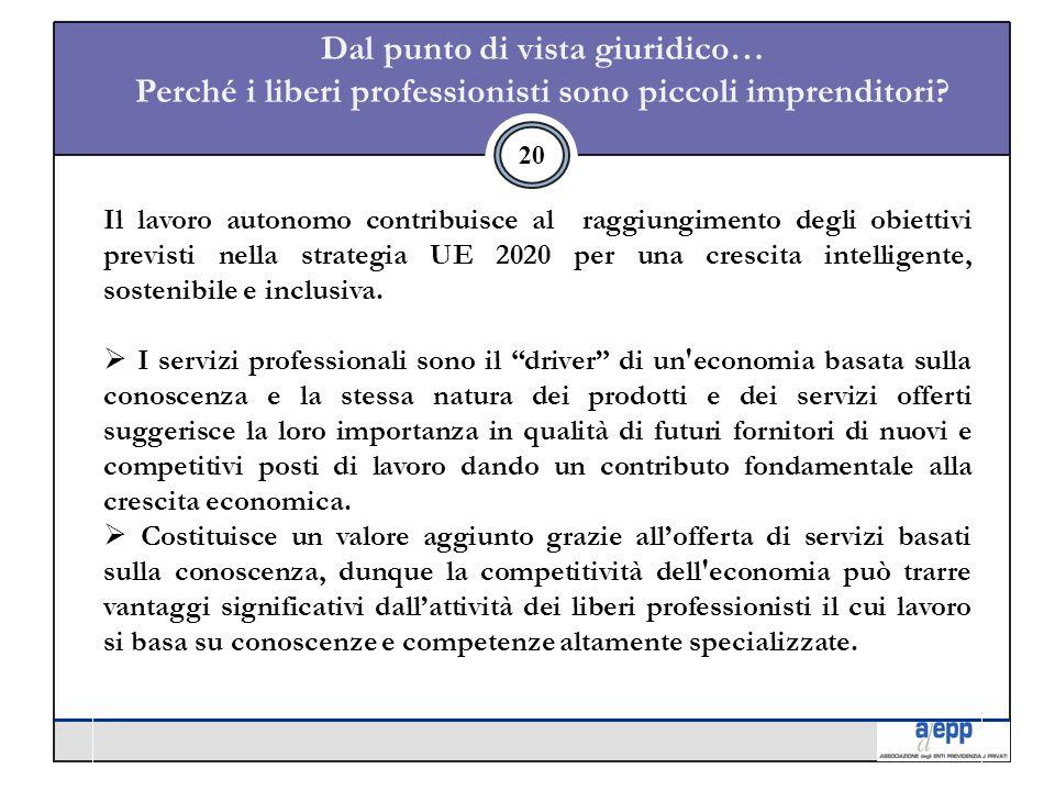 20 Il lavoro autonomo contribuisce al raggiungimento degli obiettivi previsti nella strategia UE 2020 per una crescita intelligente, sostenibile e inclusiva.