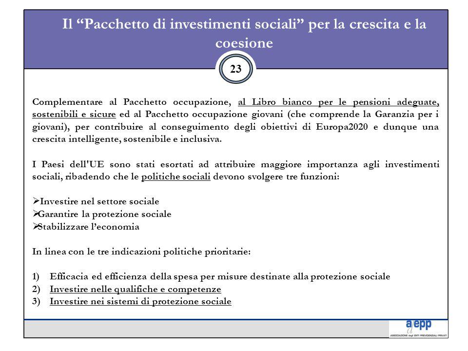 23 Il Pacchetto di investimenti sociali per la crescita e la coesione Complementare al Pacchetto occupazione, al Libro bianco per le pensioni adeguate, sostenibili e sicure ed al Pacchetto occupazione giovani (che comprende la Garanzia per i giovani), per contribuire al conseguimento degli obiettivi di Europa2020 e dunque una crescita intelligente, sostenibile e inclusiva.