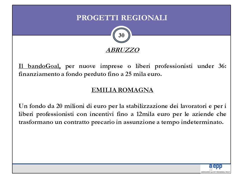 30 PROGETTI REGIONALI ABRUZZO Il bandoGoal, per nuove imprese o liberi professionisti under 36: finanziamento a fondo perduto fino a 25 mila euro.