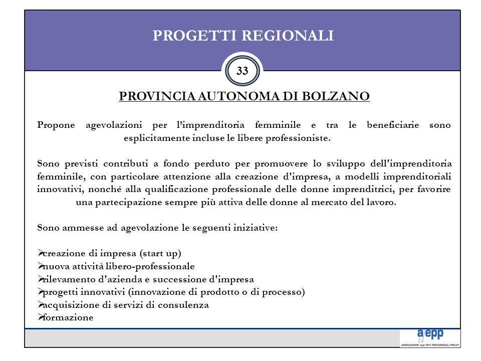 33 PROGETTI REGIONALI PROVINCIA AUTONOMA DI BOLZANO Propone agevolazioni per l'imprenditoria femminile e tra le beneficiarie sono esplicitamente incluse le libere professioniste.