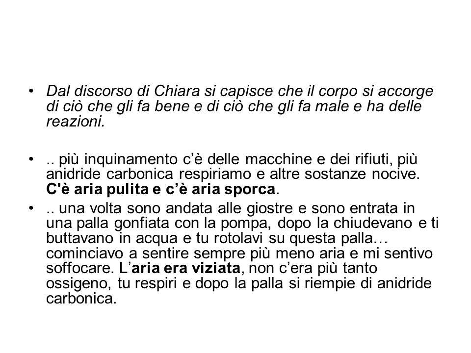 Dal discorso di Chiara si capisce che il corpo si accorge di ciò che gli fa bene e di ciò che gli fa male e ha delle reazioni... più inquinamento c'è