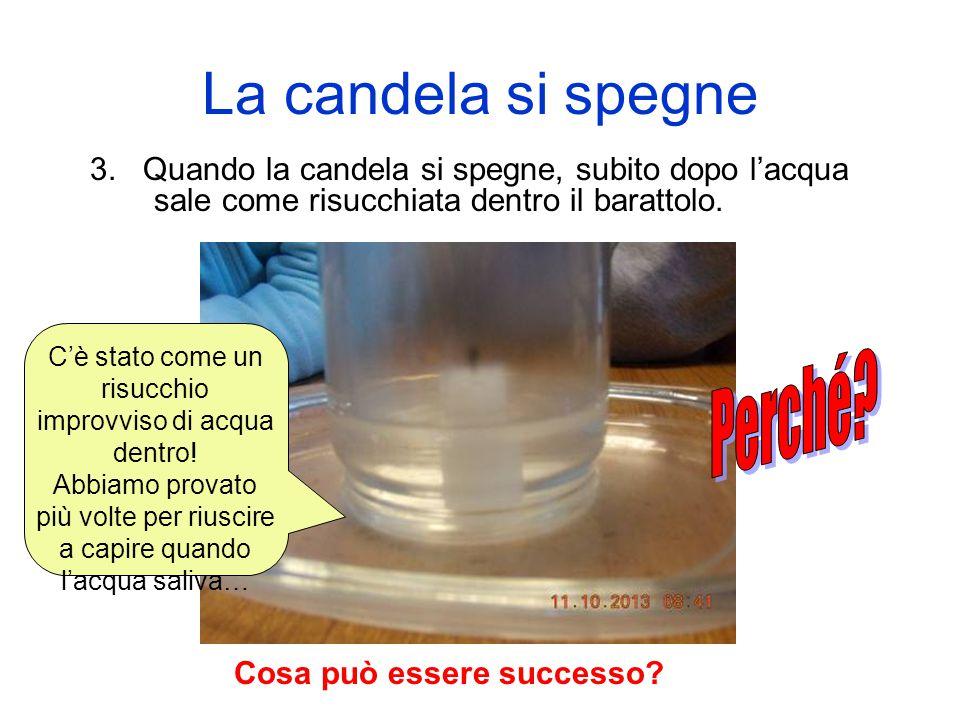 La candela si spegne 3. Quando la candela si spegne, subito dopo l'acqua sale come risucchiata dentro il barattolo. Cosa può essere successo? C'è stat