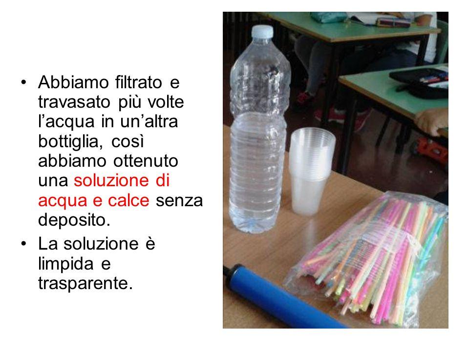 Abbiamo filtrato e travasato più volte l'acqua in un'altra bottiglia, così abbiamo ottenuto una soluzione di acqua e calce senza deposito. La soluzion