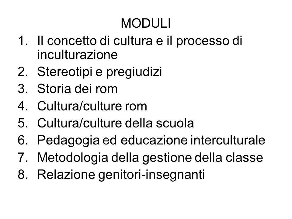 MODULI 1.Il concetto di cultura e il processo di inculturazione 2.Stereotipi e pregiudizi 3.Storia dei rom 4.Cultura/culture rom 5.Cultura/culture del
