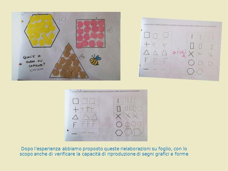 Dopo l'esperienza abbiamo proposto queste rielaborazioni su foglio, con lo scopo anche di verificare la capacità di riproduzione di segni grafici e fo