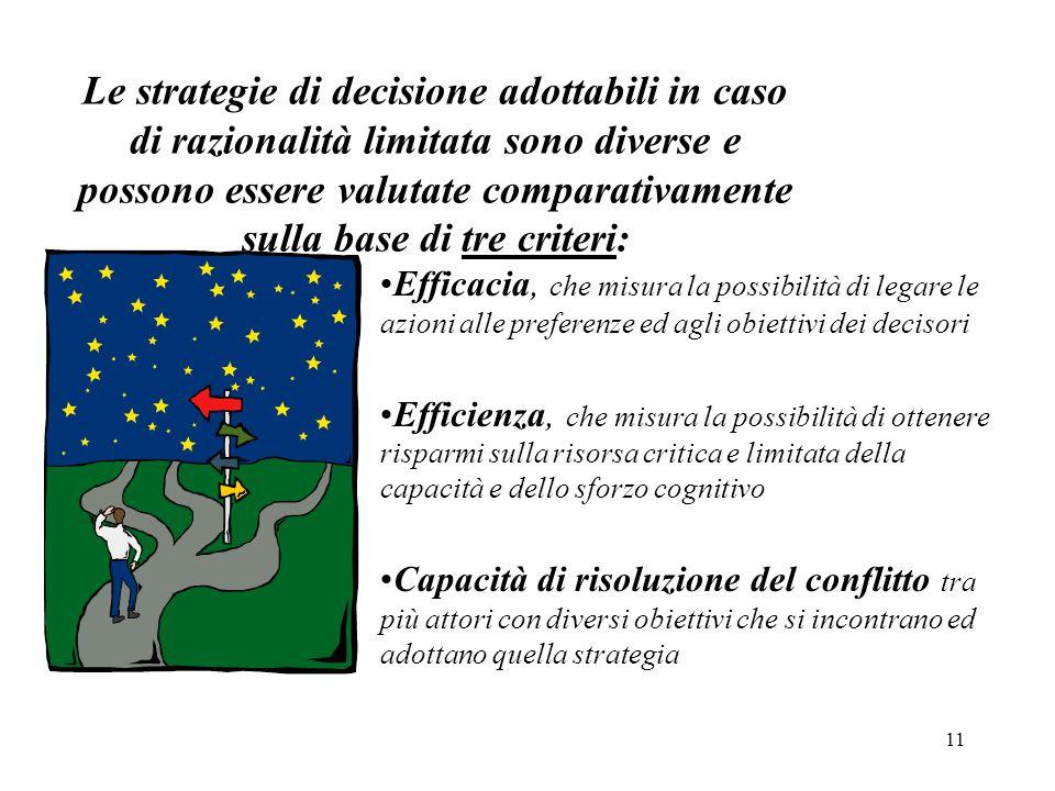 11 Le strategie di decisione adottabili in caso di razionalità limitata sono diverse e possono essere valutate comparativamente sulla base di tre crit