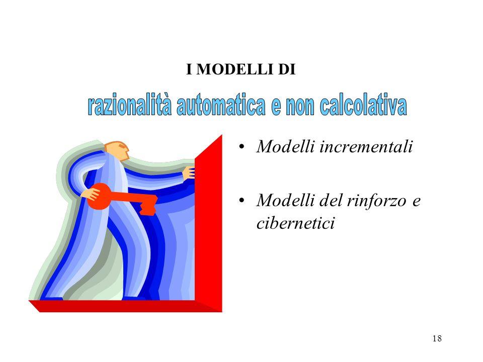 18 Modelli incrementali Modelli del rinforzo e cibernetici I MODELLI DI