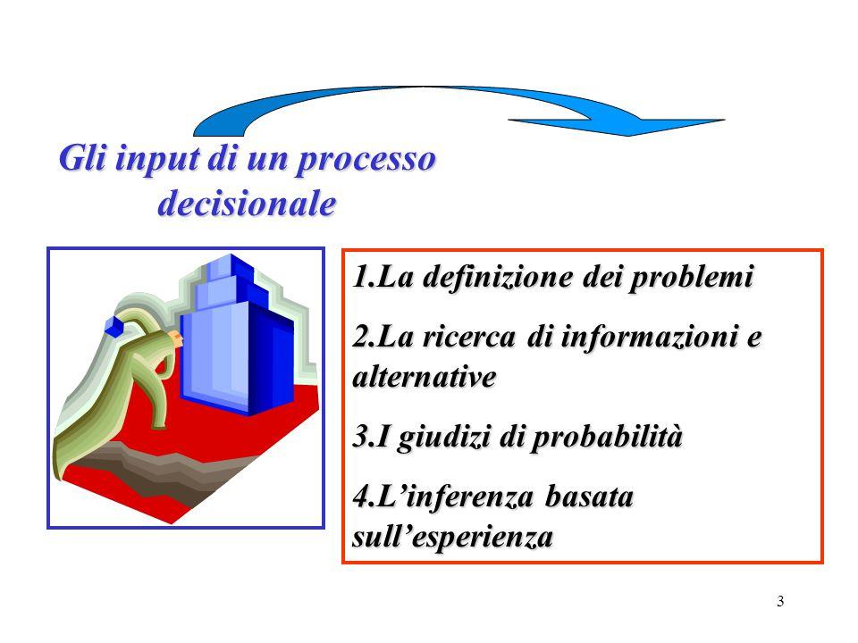 3 Gli input di un processo decisionale 1.La definizione dei problemi 2.La ricerca di informazioni e alternative 3.I giudizi di probabilità 4.L'inferen