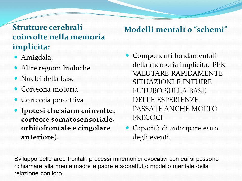 """Strutture cerebrali coinvolte nella memoria implicita: Modelli mentali o """"schemi"""" Amigdala, Altre regioni limbiche Nuclei della base Corteccia motoria"""