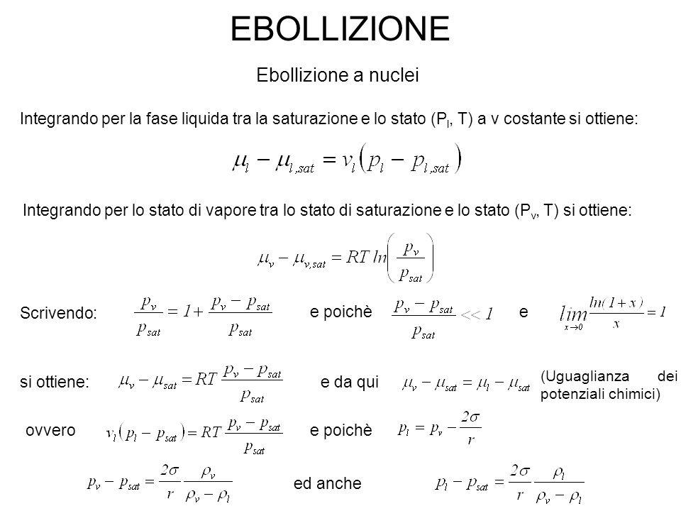 EBOLLIZIONE Ebollizione a nuclei Integrando per la fase liquida tra la saturazione e lo stato (P l, T) a v costante si ottiene: Integrando per lo stat