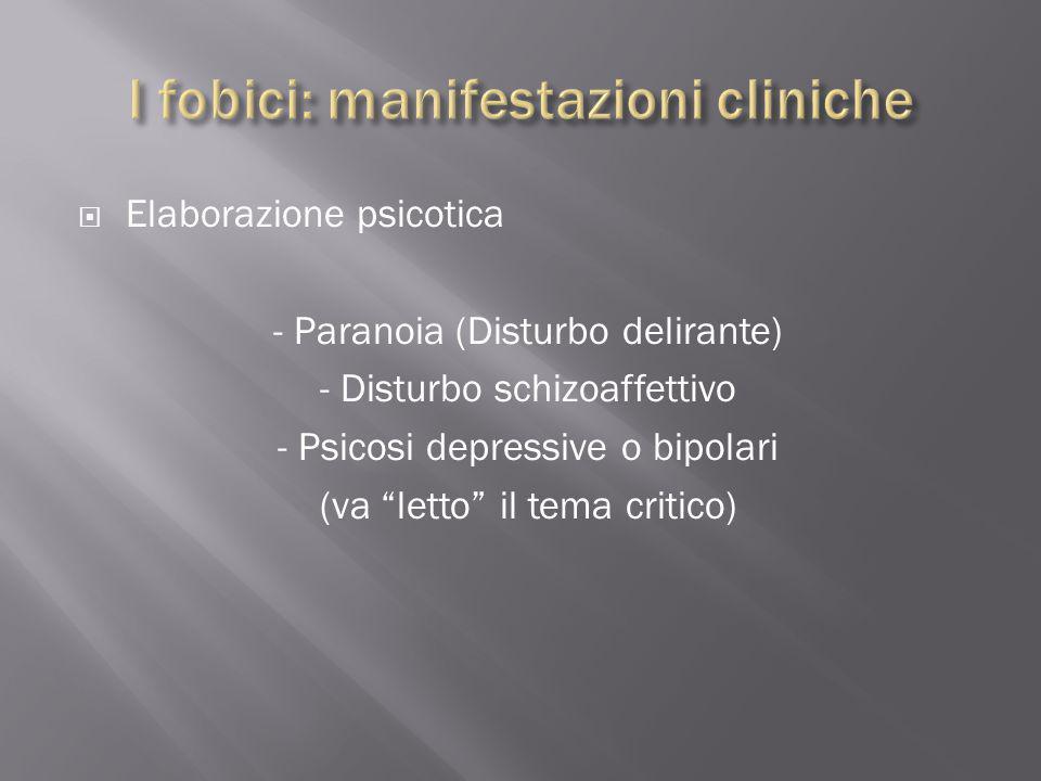 """ Elaborazione psicotica - Paranoia (Disturbo delirante) - Disturbo schizoaffettivo - Psicosi depressive o bipolari (va """"letto"""" il tema critico)"""