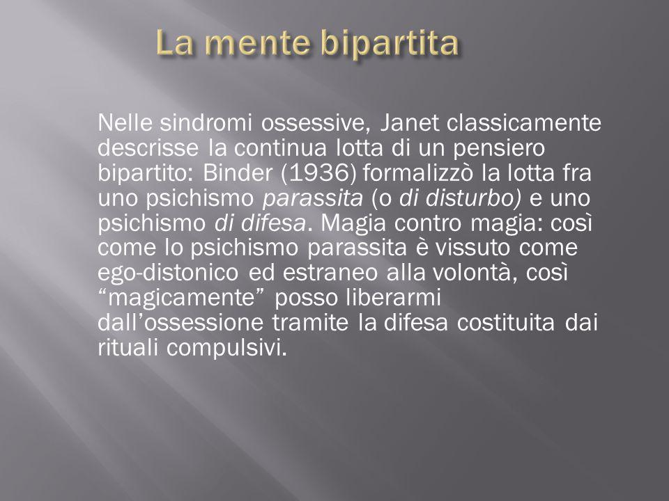 Nelle sindromi ossessive, Janet classicamente descrisse la continua lotta di un pensiero bipartito: Binder (1936) formalizzò la lotta fra uno psichism