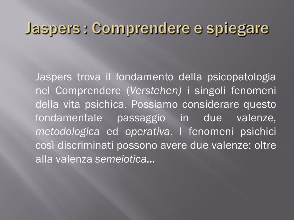 Jaspers trova il fondamento della psicopatologia nel Comprendere (Verstehen) i singoli fenomeni della vita psichica. Possiamo considerare questo fonda