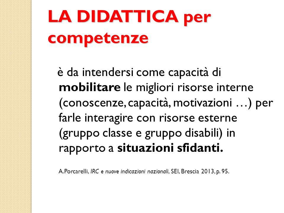 LA DIDATTICA per competenze è da intendersi come capacità di mobilitare le migliori risorse interne (conoscenze, capacità, motivazioni …) per farle in