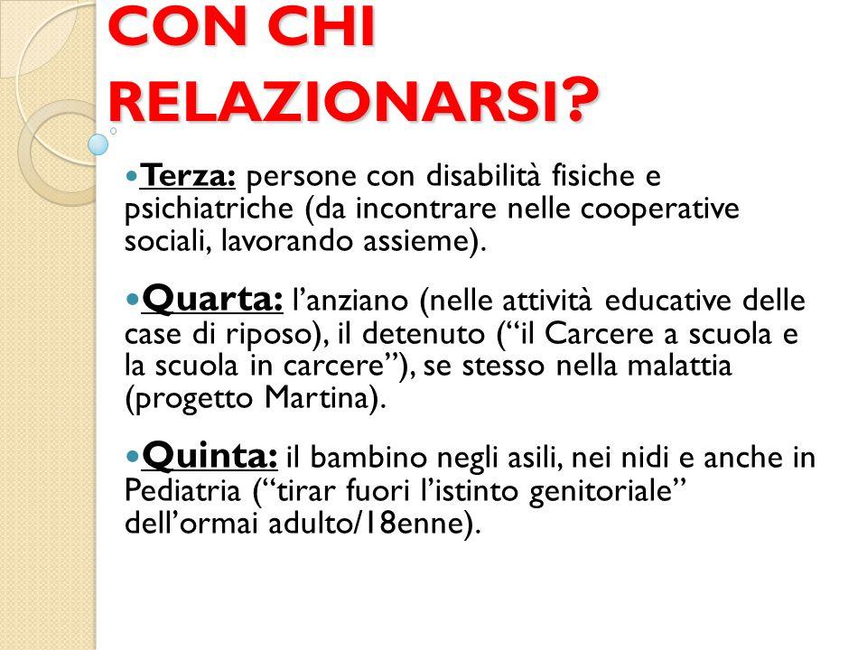 CON CHI RELAZIONARSI ? Terza: persone con disabilità fisiche e psichiatriche (da incontrare nelle cooperative sociali, lavorando assieme). Quarta: l'a