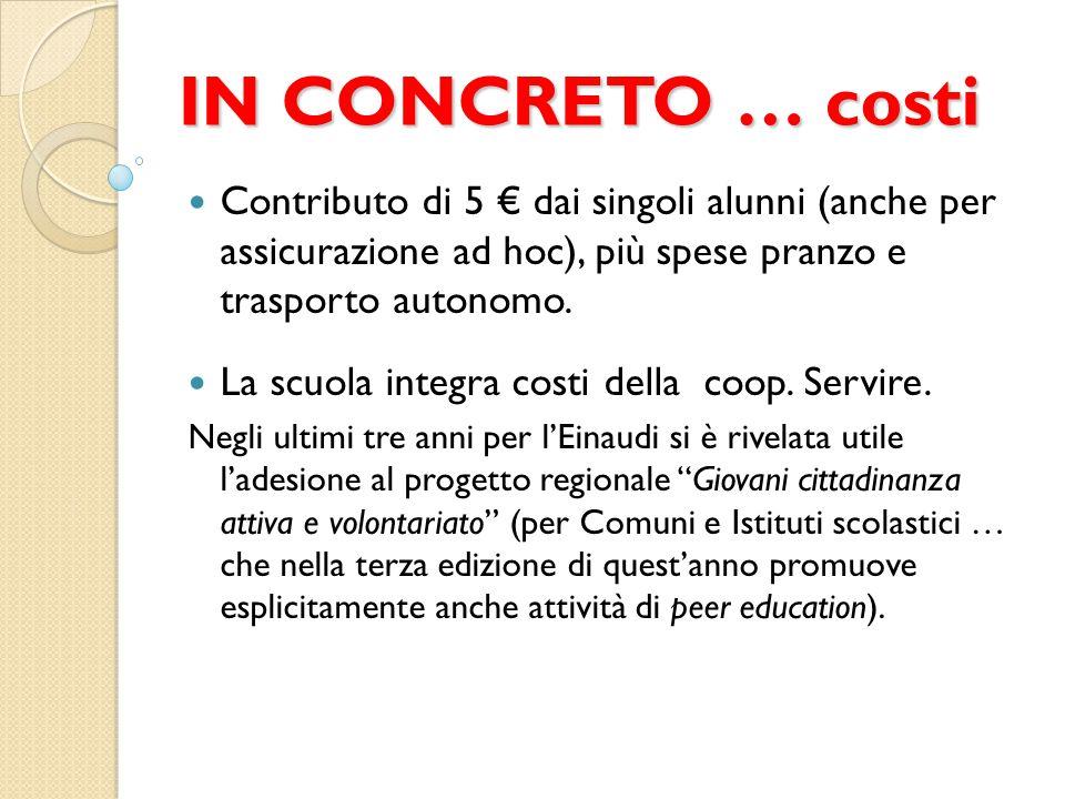 IN CONCRETO … costi Contributo di 5 € dai singoli alunni (anche per assicurazione ad hoc), più spese pranzo e trasporto autonomo. La scuola integra co
