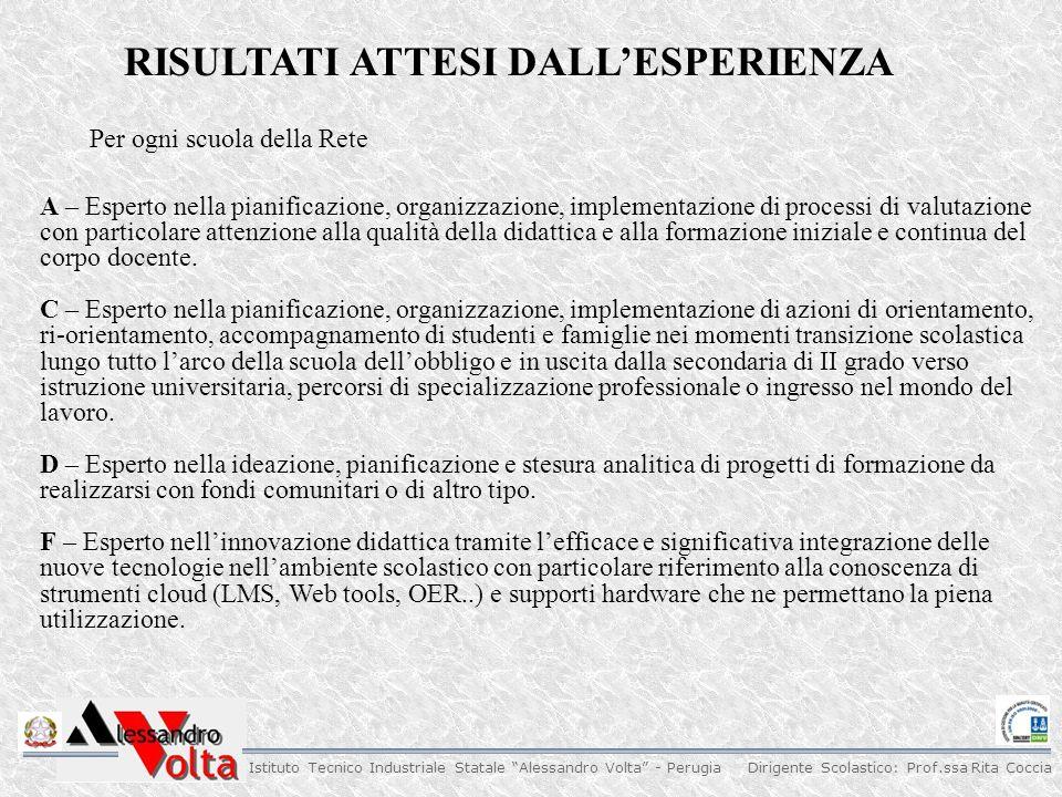 """Dirigente Scolastico: Prof.ssa Rita Coccia Istituto Tecnico Industriale Statale """"Alessandro Volta"""" - Perugia RISULTATI ATTESI DALL'ESPERIENZA A – Espe"""