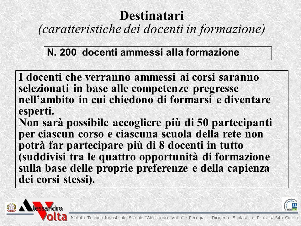 Dirigente Scolastico: Prof.ssa Rita Coccia Istituto Tecnico Industriale Statale Alessandro Volta - Perugia Visto l'obiettivo formativo, non si prevede,salvo motivate eccezioni, che ai corsi partecipino 'principianti assoluti '.