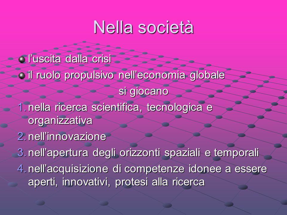 Nella società l'uscita dalla crisi il ruolo propulsivo nell'economia globale si giocano 1.nella ricerca scientifica, tecnologica e organizzativa 2.nel