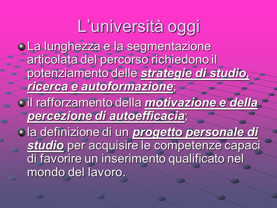 L'università oggi La lunghezza e la segmentazione articolata del percorso richiedono il potenziamento delle strategie di studio, ricerca e autoformazi
