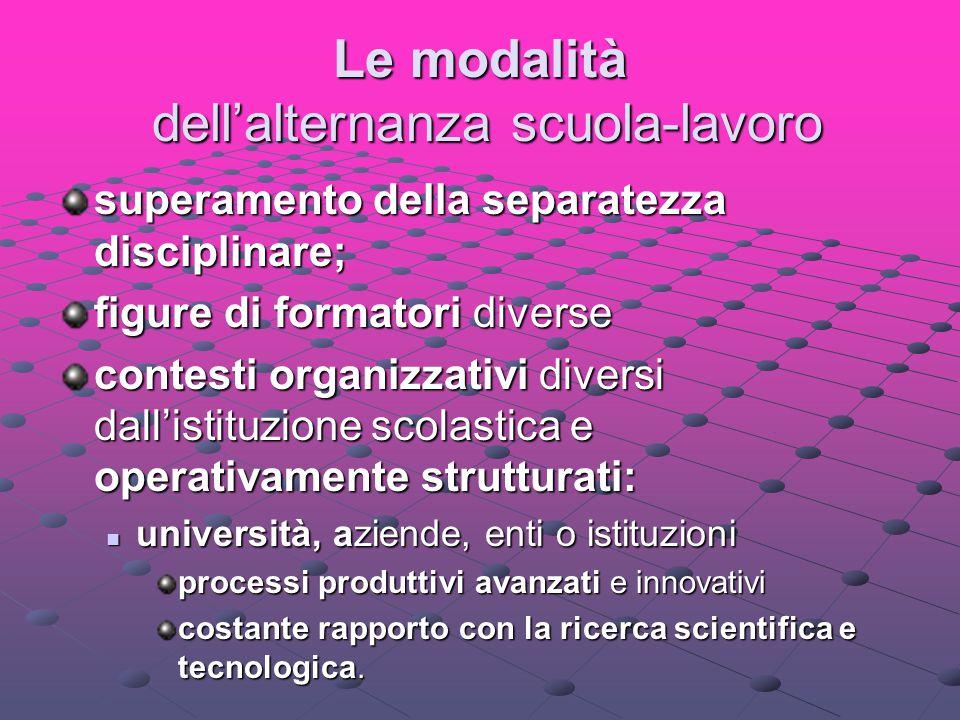 Le modalità dell'alternanza scuola-lavoro superamento della separatezza disciplinare; figure di formatori diverse contesti organizzativi diversi dall'