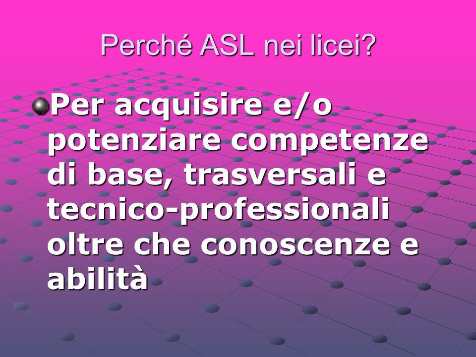 Perché ASL nei licei? Per acquisire e/o potenziare competenze di base, trasversali e tecnico-professionali oltre che conoscenze e abilità