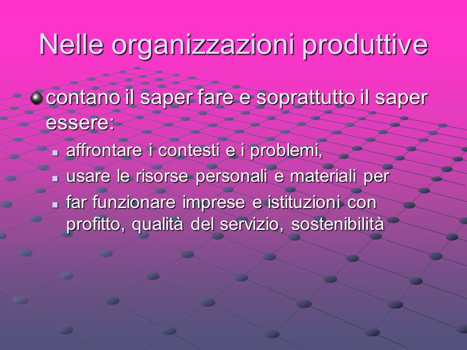 Nelle organizzazioni produttive contano il saper fare e soprattutto il saper essere: affrontare i contesti e i problemi, affrontare i contesti e i pro