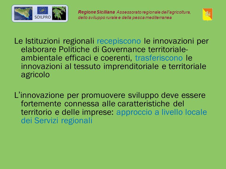 Le Istituzioni regionali recepiscono le innovazioni per elaborare Politiche di Governance territoriale- ambientale efficaci e coerenti, trasferiscono le innovazioni al tessuto imprenditoriale e territoriale agricolo L'innovazione per promuovere sviluppo deve essere fortemente connessa alle caratteristiche del territorio e delle imprese: approccio a livello locale dei Servizi regionali Regione Siciliana Assessorato regionale dell agricoltura, dello sviluppo rurale e della pesca mediterranea