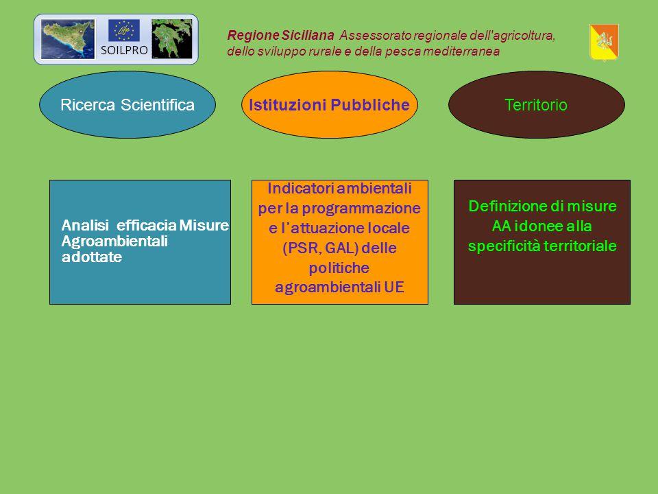 Ricerca Scientifica Istituzioni PubblicheTerritorio Regione Siciliana Assessorato regionale dell agricoltura, dello sviluppo rurale e della pesca mediterranea Analisi efficacia Misure Agroambientali adottate Indicatori ambientali per la programmazione e l'attuazione locale (PSR, GAL) delle politiche agroambientali UE Definizione di misure AA idonee alla specificità territoriale