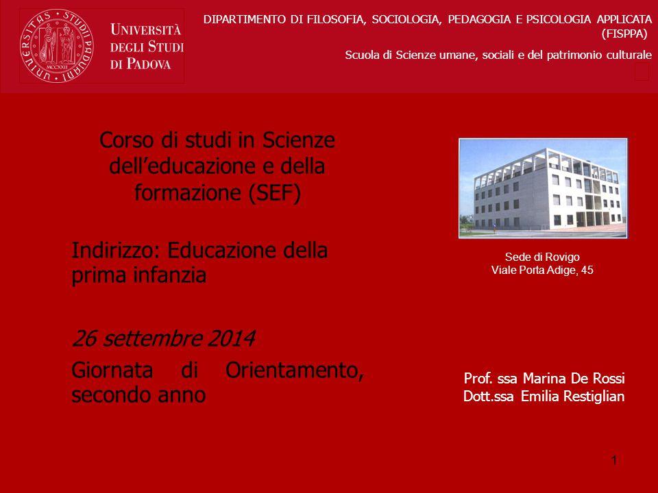 Sede di Rovigo Viale Porta Adige, 45 DIPARTIMENTO DI FILOSOFIA, SOCIOLOGIA, PEDAGOGIA E PSICOLOGIA APPLICATA (FISPPA) Scuola di Scienze umane, sociali