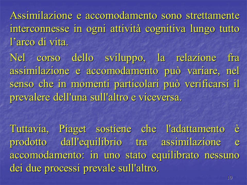 10 Assimilazione e accomodamento sono strettamente interconnesse in ogni attività cognitiva lungo tutto l'arco di vita. Nel corso dello sviluppo, la r