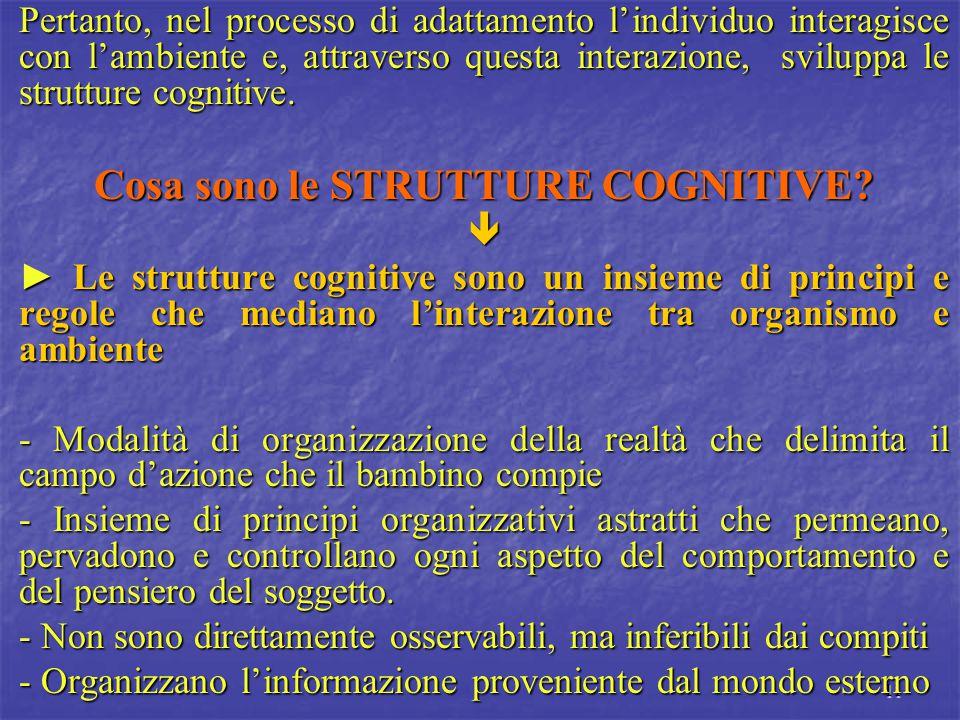 11 Pertanto, nel processo di adattamento l'individuo interagisce con l'ambiente e, attraverso questa interazione, sviluppa le strutture cognitive. Cos