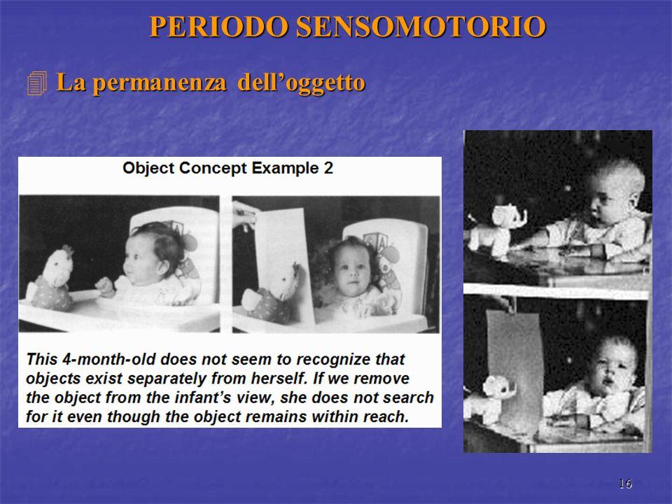 16 PERIODO SENSOMOTORIO La permanenza dell'oggetto  La permanenza dell'oggetto