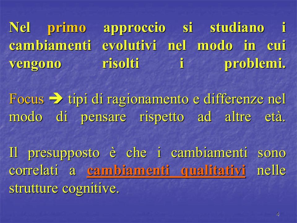 4 Nel primo approccio si studiano i cambiamenti evolutivi nel modo in cui vengono risolti i problemi. Focus  tipi di ragionamento e differenze nel mo