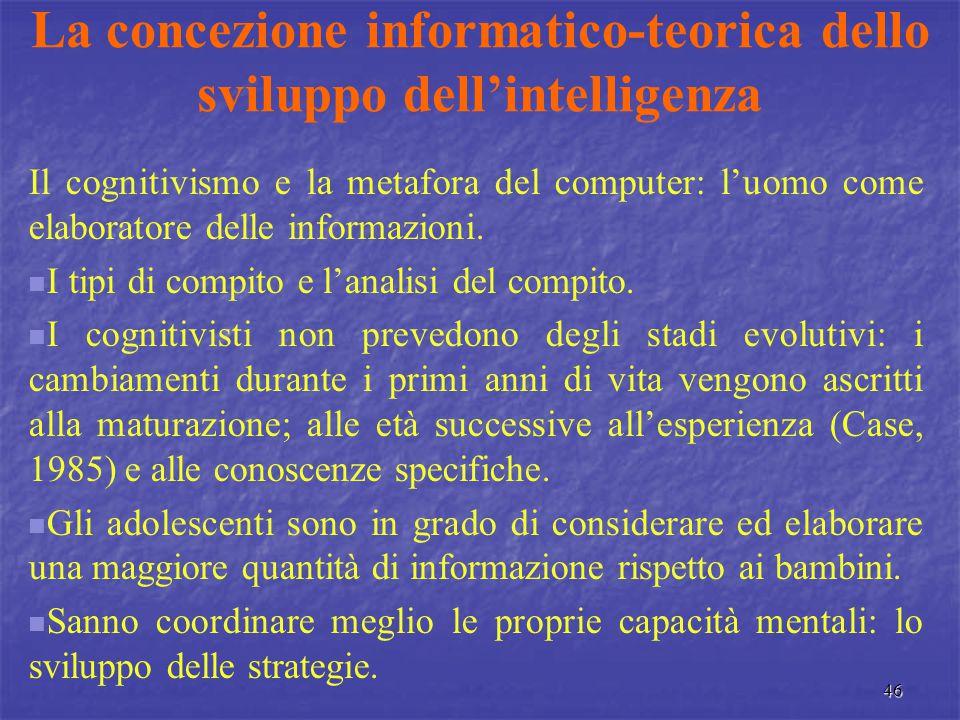 46 La concezione informatico-teorica dello sviluppo dell'intelligenza Il cognitivismo e la metafora del computer: l'uomo come elaboratore delle inform
