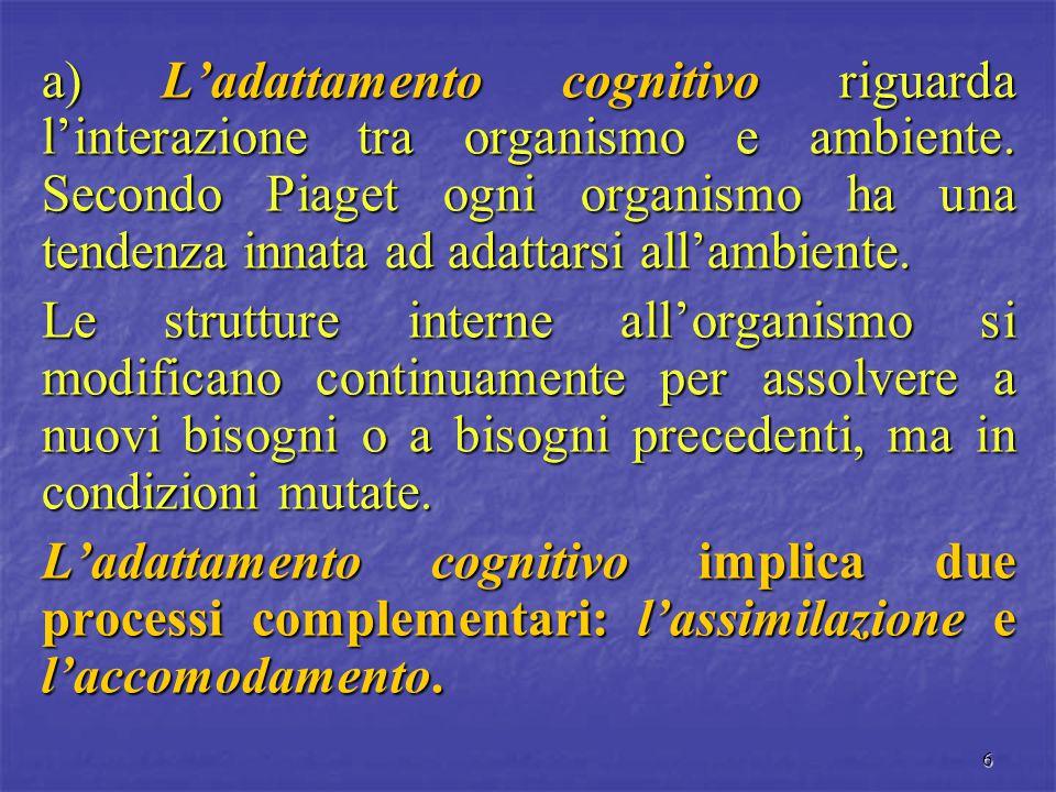 6 a) L'adattamento cognitivo riguarda l'interazione tra organismo e ambiente. Secondo Piaget ogni organismo ha una tendenza innata ad adattarsi all'am