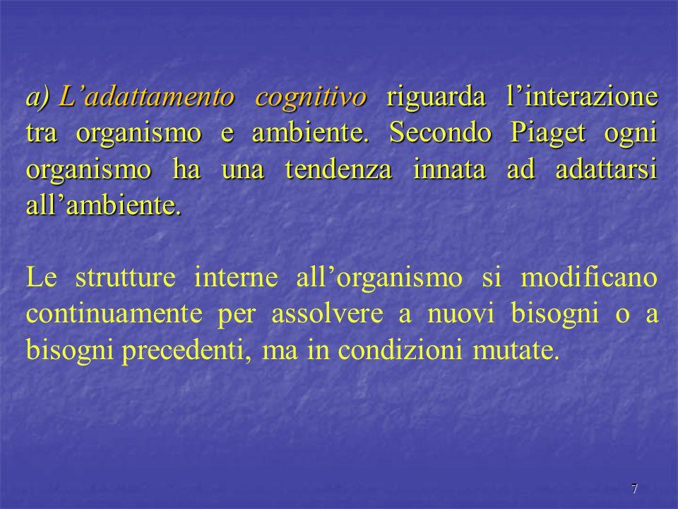 7 a) L'adattamento cognitivo riguarda l'interazione tra organismo e ambiente. Secondo Piaget ogni organismo ha una tendenza innata ad adattarsi all'am