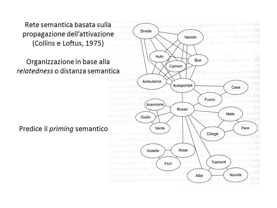 Rete semantica basata sulla propagazione dell'attivazione (Collins e Loftus, 1975) Organizzazione in base alla relatedness o distanza semantica Predic