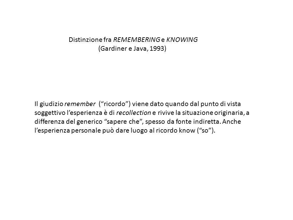 """Distinzione fra REMEMBERING e KNOWING (Gardiner e Java, 1993) Il giudizio remember (""""ricordo"""") viene dato quando dal punto di vista soggettivo l'esper"""