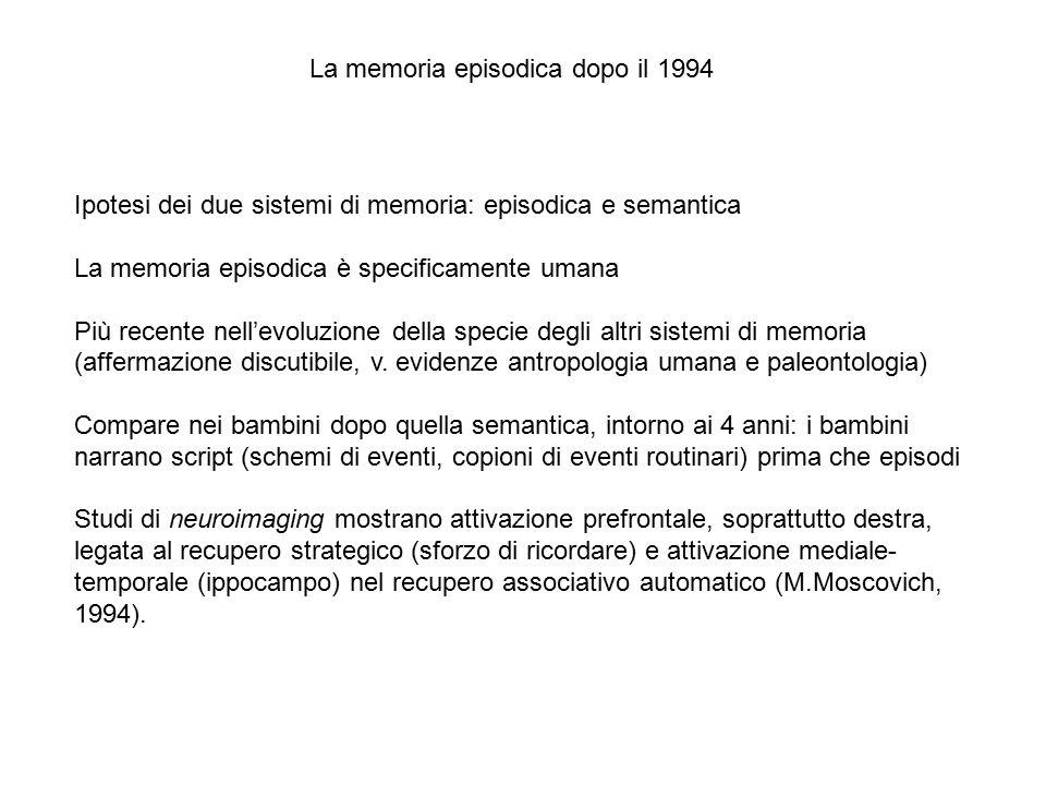 Ipotesi dei due sistemi di memoria: episodica e semantica La memoria episodica è specificamente umana Più recente nell'evoluzione della specie degli a