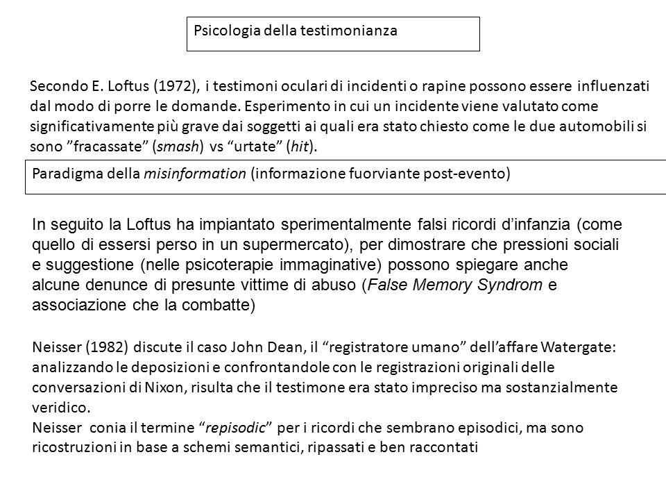 Psicologia della testimonianza Secondo E. Loftus (1972), i testimoni oculari di incidenti o rapine possono essere influenzati dal modo di porre le dom