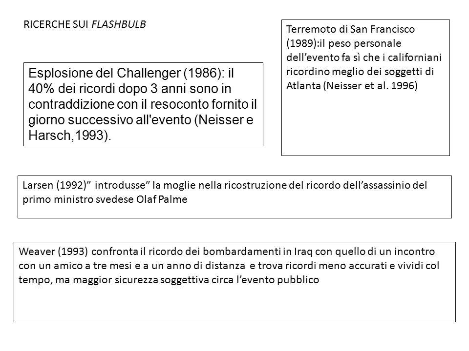 Esplosione del Challenger (1986): il 40% dei ricordi dopo 3 anni sono in contraddizione con il resoconto fornito il giorno successivo all'evento (Neis