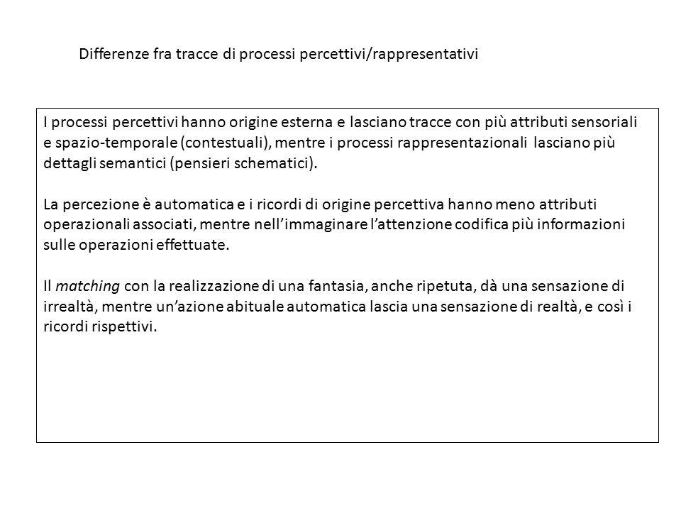 Differenze fra tracce di processi percettivi/rappresentativi I processi percettivi hanno origine esterna e lasciano tracce con più attributi sensorial
