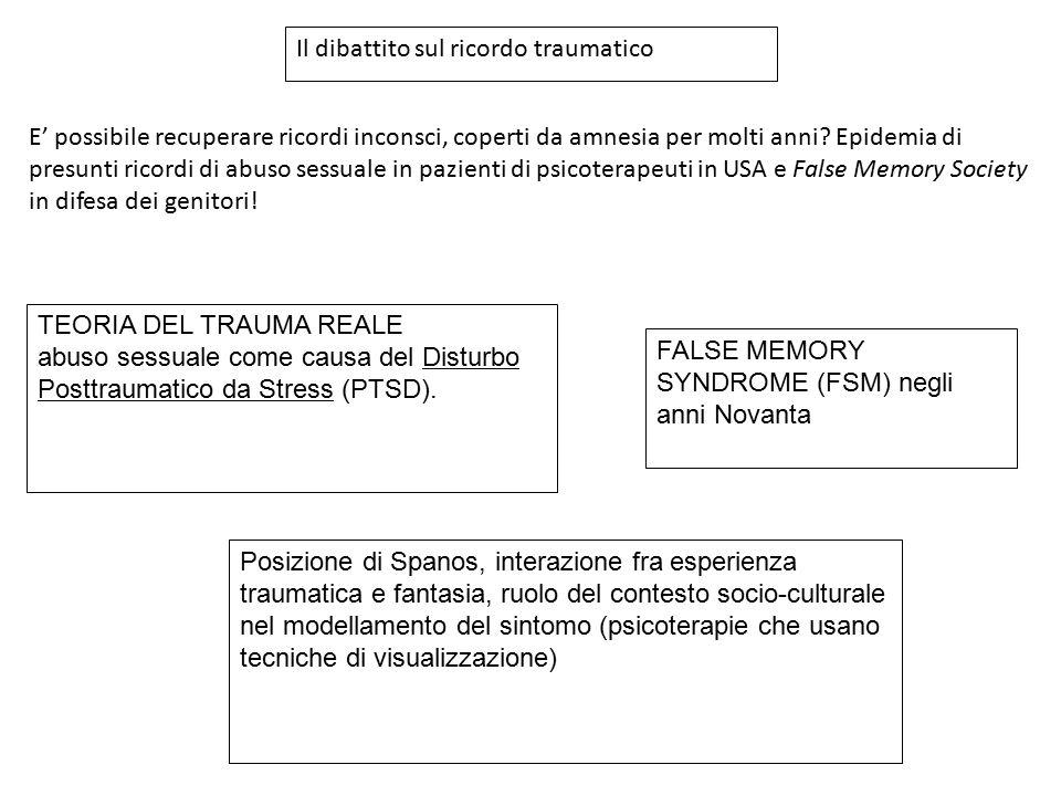 TEORIA DEL TRAUMA REALE abuso sessuale come causa del Disturbo Posttraumatico da Stress (PTSD). FALSE MEMORY SYNDROME (FSM) negli anni Novanta Posizio