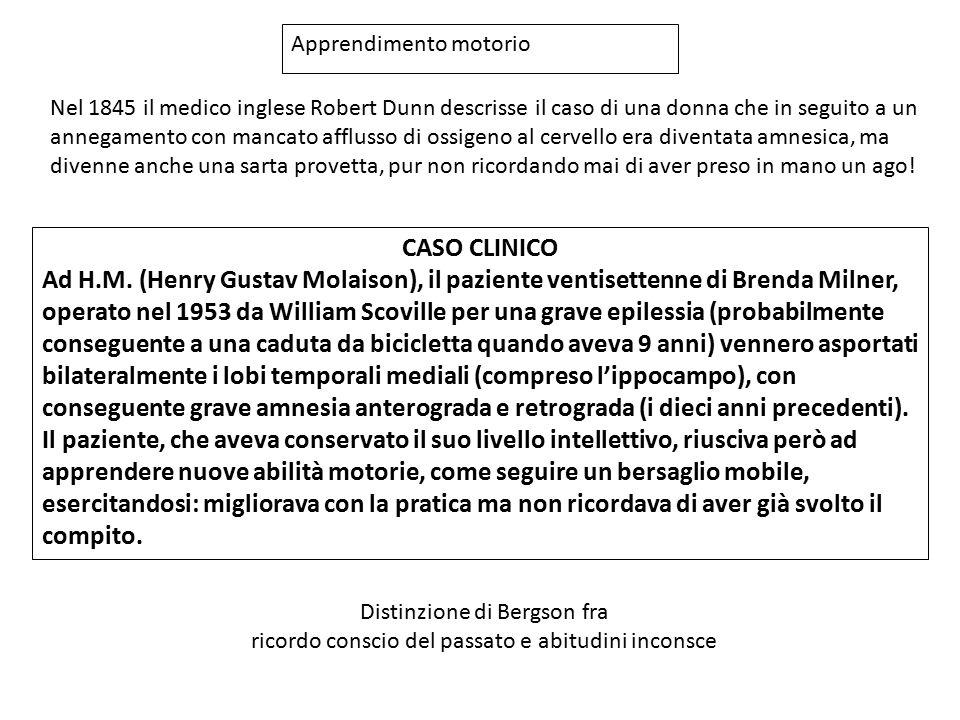 CASO CLINICO Ad H.M. (Henry Gustav Molaison), il paziente ventisettenne di Brenda Milner, operato nel 1953 da William Scoville per una grave epilessia