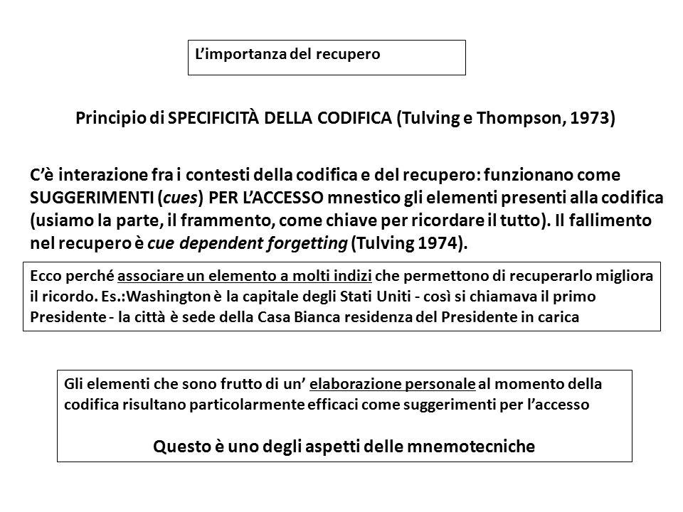 Principio di SPECIFICITÀ DELLA CODIFICA (Tulving e Thompson, 1973) C'è interazione fra i contesti della codifica e del recupero: funzionano come SUGGE