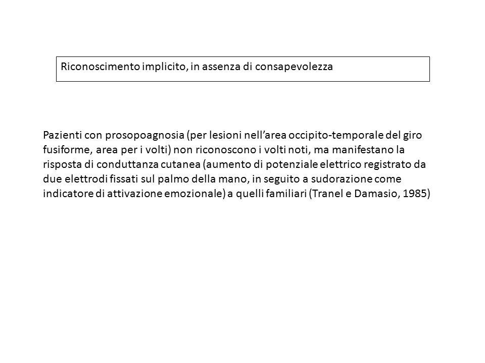 Pazienti con prosopoagnosia (per lesioni nell'area occipito-temporale del giro fusiforme, area per i volti) non riconoscono i volti noti, ma manifesta