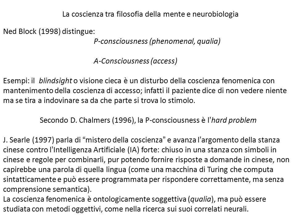 Ned Block (1998) distingue: P-consciousness (phenomenal, qualia) A-Consciousness (access) Esempi: il blindsight o visione cieca è un disturbo della co