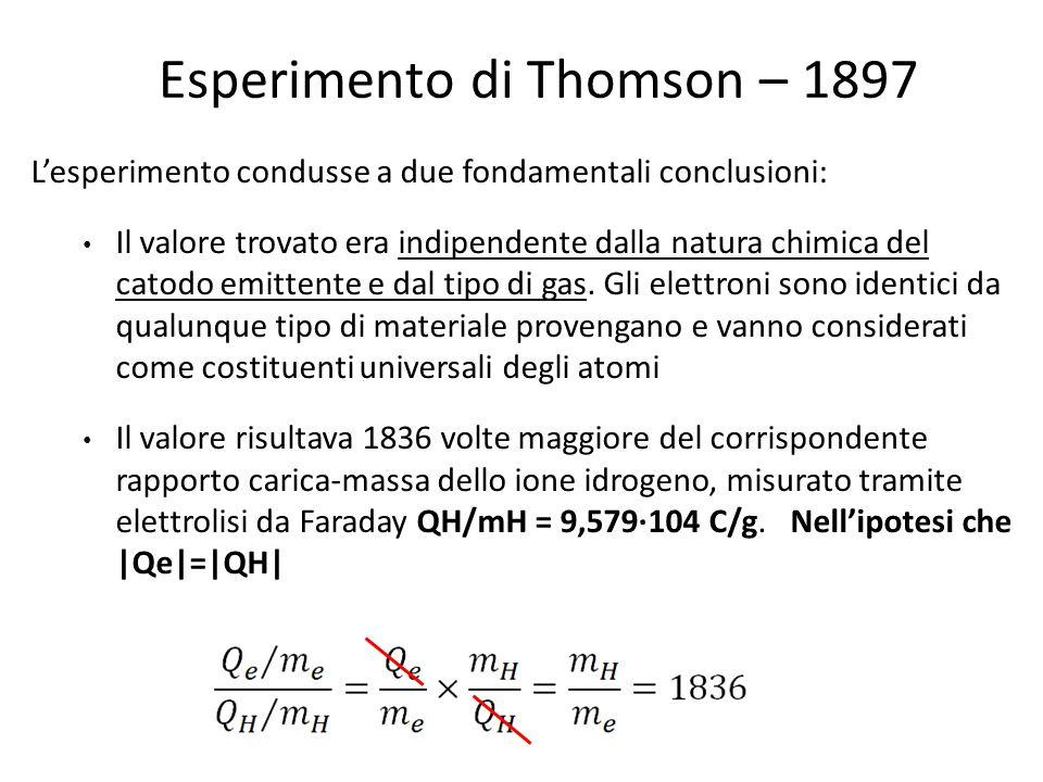 Esperimento di Thomson – 1897 L'esperimento condusse a due fondamentali conclusioni: Il valore trovato era indipendente dalla natura chimica del catod